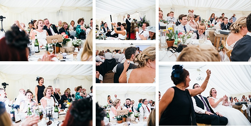 Collection of images from the speeches from a relaxed garden party wedding in Lancashire