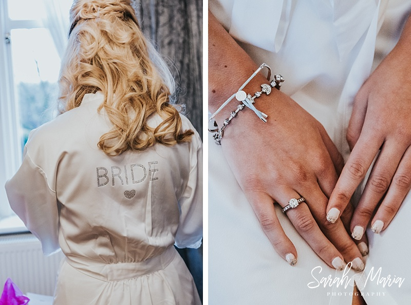 Details of a bride on her wedding day. Dressing gown and her something blue bracelet