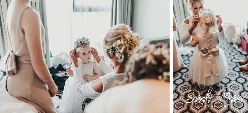 cute bridesmaid getting dressed