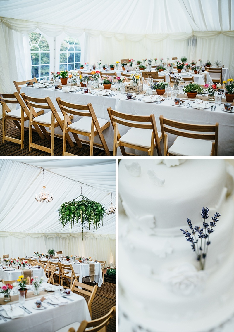 Collage of photographs showing the marquee and cake from a garden wedding in Lancashire
