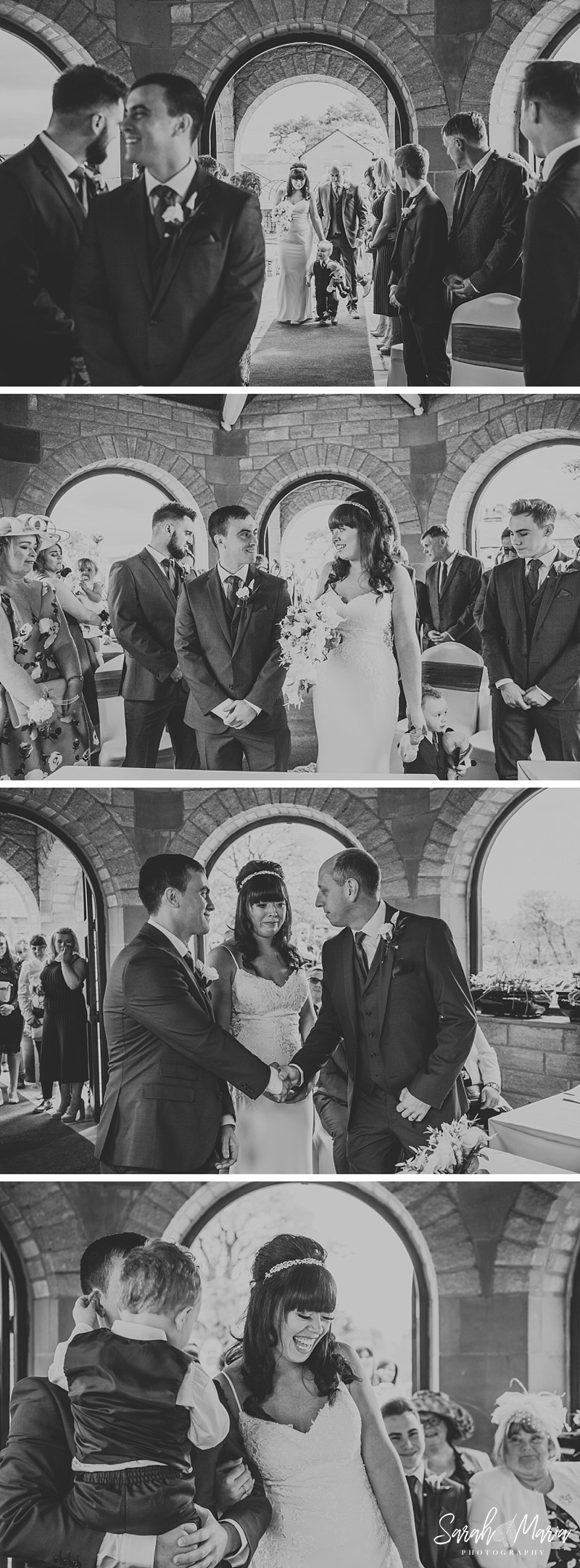 photographs of a bride walking up the aisle and during the ceremony of the wedding inside the dovecote at Ferraris country house
