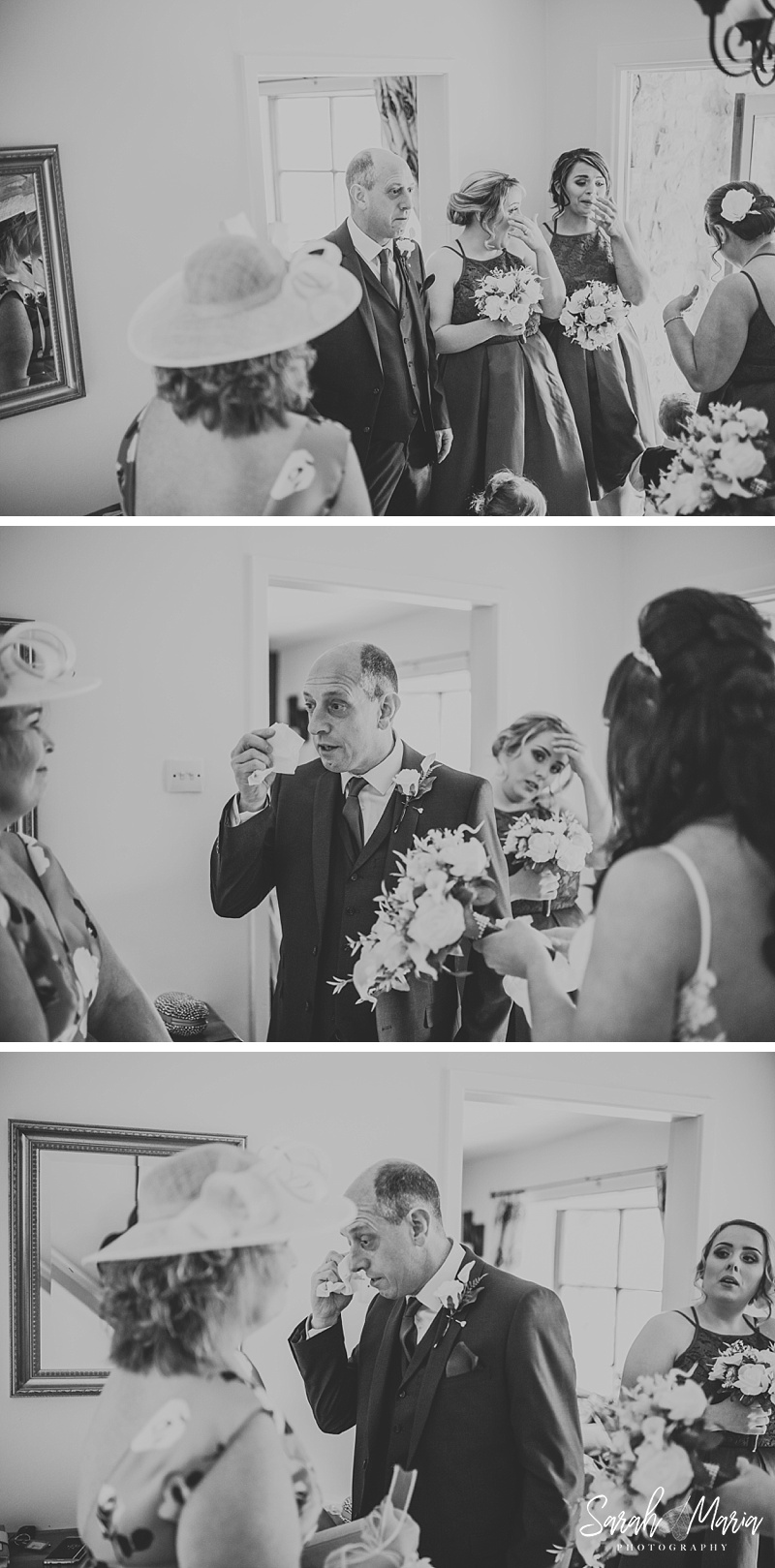 black and white photographs of a father of the bride crying in reaction to seeing his daughter for the first time