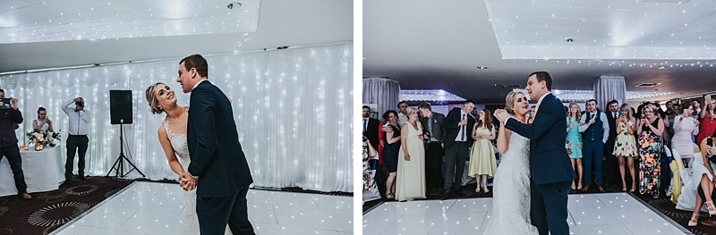 a bride and groom during their first dance
