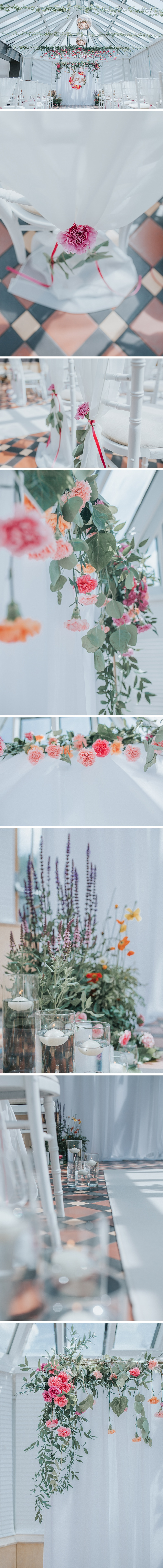 Flower and candle decor at the faversham wedding venue in Leeds