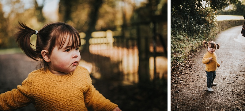 portraits of a little girl in autumn colours