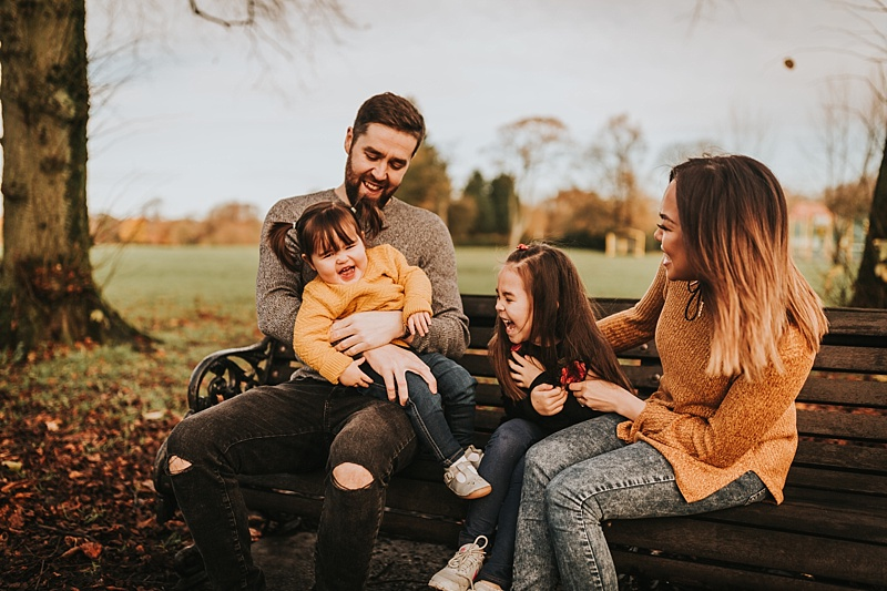fun family portrait in autumn in lancashire