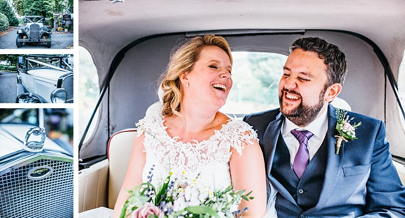 Bramwith wedding car details and a portrait of the bride and groom in the back seat