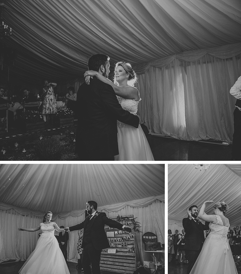bride and groom doing their first dance at their marquee wedding