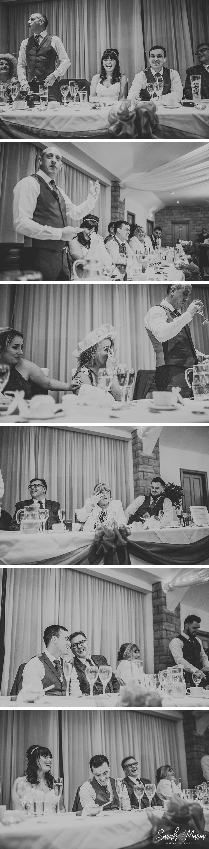 black and white photographs of guests during speeches at Ferraris country house hotel