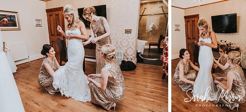 bridesmaids helping a bride into her rosa Clara wedding dress