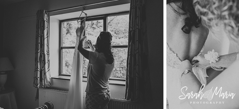 two black and white photographs of a bride getting dressed into her wedding dress