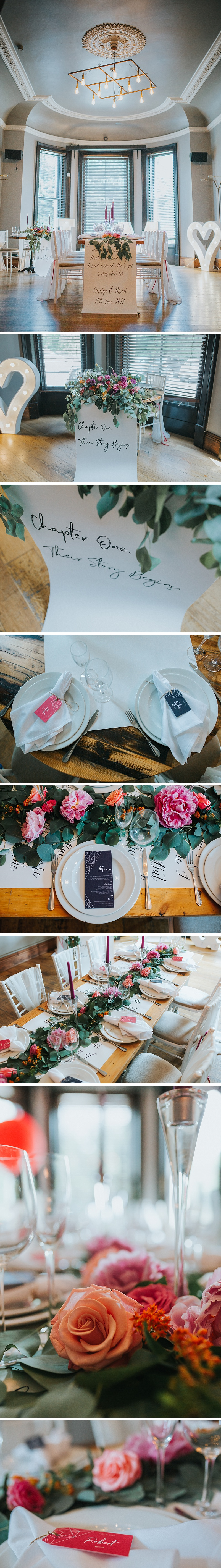 details of a wedding set up in a victorian room