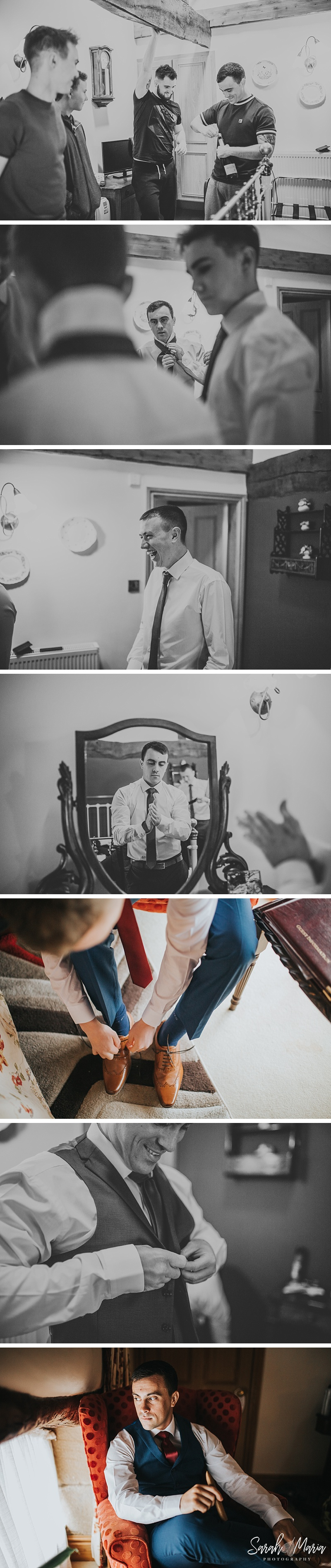 photographs of the grooms party getting ready at their wedding venue
