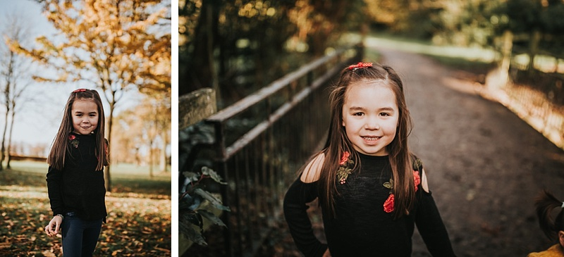 portraits of a little girl during autumn at the park
