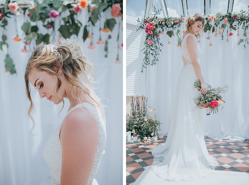 bridal portraits with colourful flowers and a decorated wedding abour