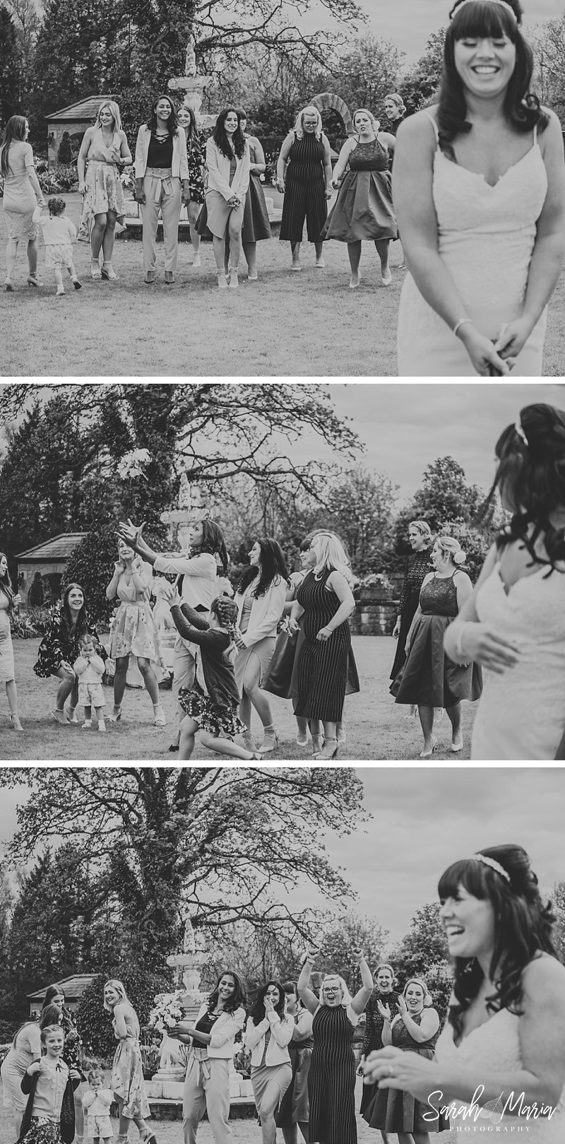 black and white photos of a bride throwing her bouquet to guests