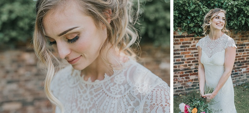natural bridal portraits showing makeup and the bride laughing
