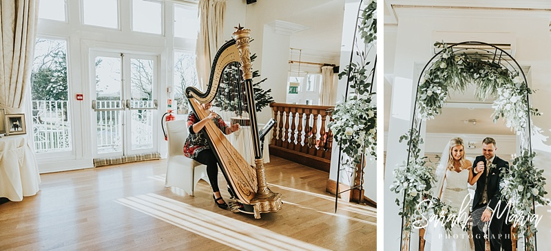 harpist playing as bride and groom leave the wedding ceremony