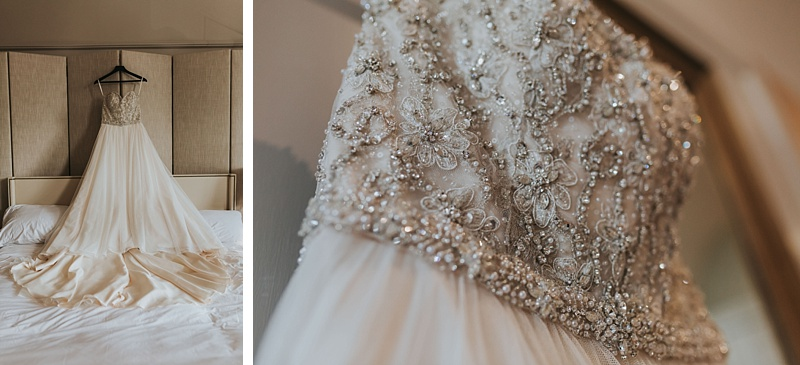 mori lee wedding dress hung up and a close up of the detailing