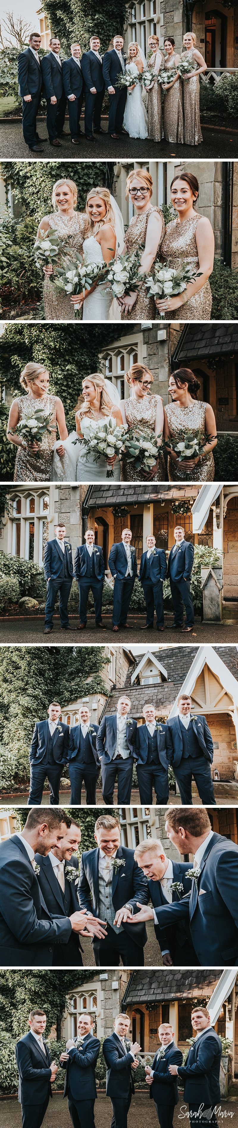 group portraits of bride, groom, groomsmen and bridesmaids