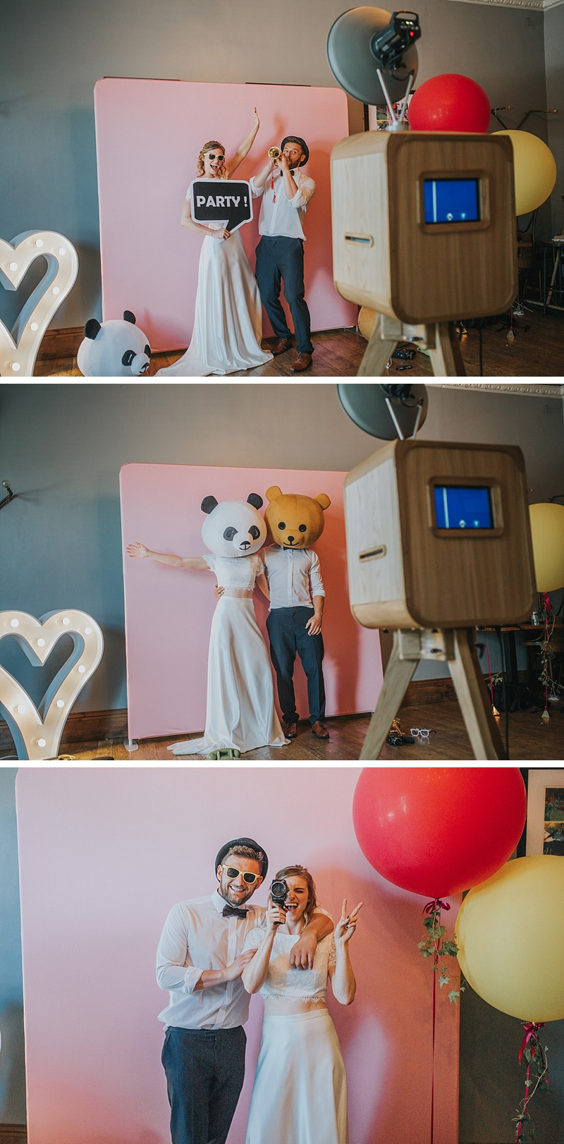 bride and groom having fun in a Photo Booth