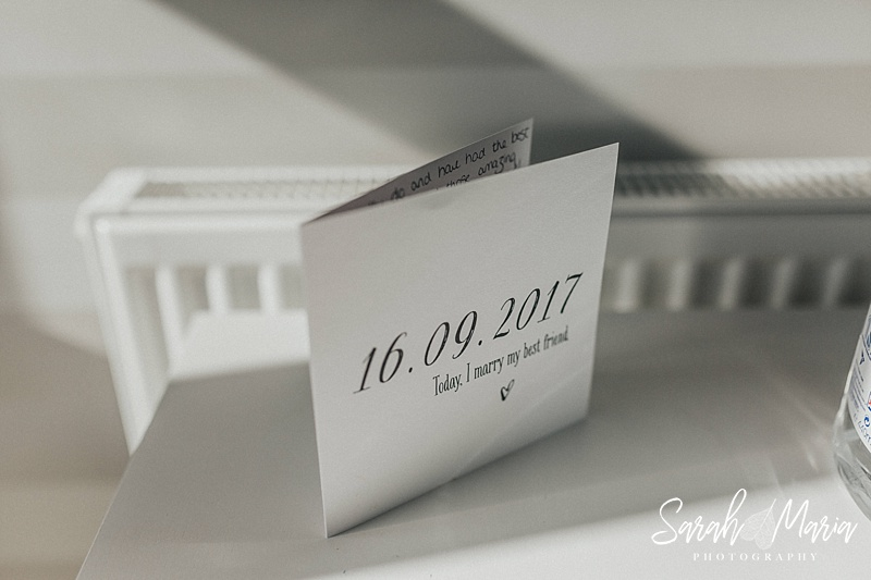 a greetings card showing the couples wedding date