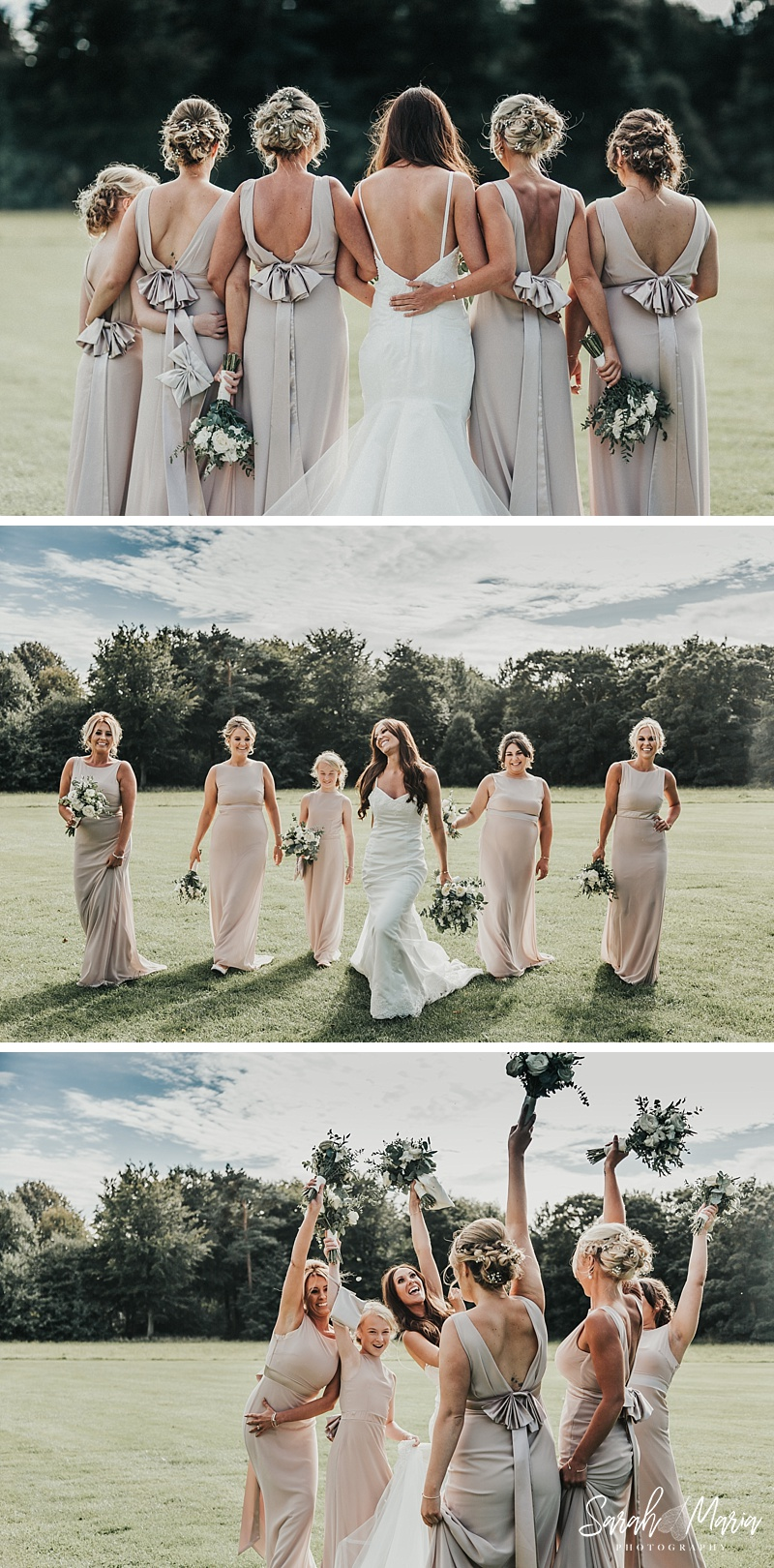 bridal party portrait at meols hall wedding venue