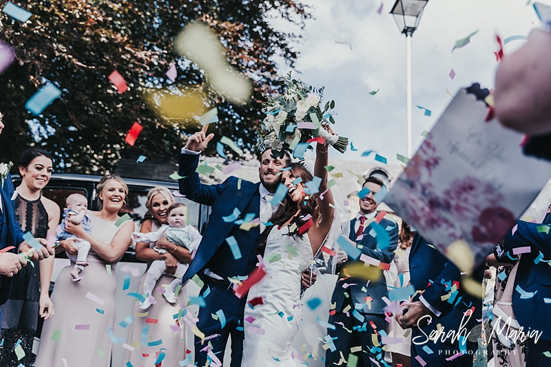 confetti wedding photo at meols hall wedding venue