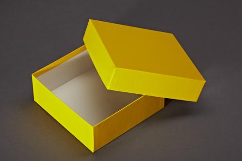 Gelber Geschenkkarton mit Deckel. Der Karton ist mit gelben Glanzpapier bezogen.
