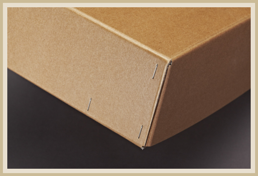 Karton mit Flachheftung und übergreifenden Deckel.
