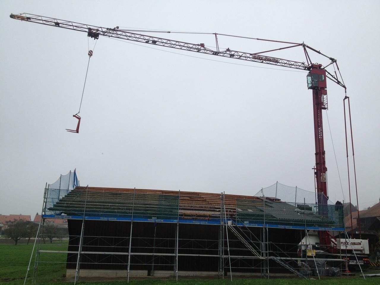 Sanierung Wellplattendach: Mobilbaukran