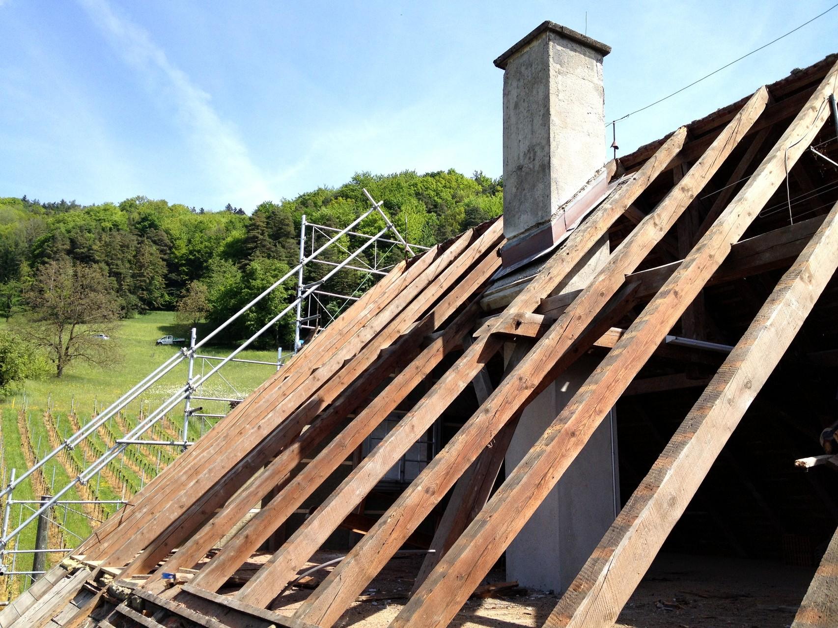 Dach Rückbau, Gebälk bleibt bestehen
