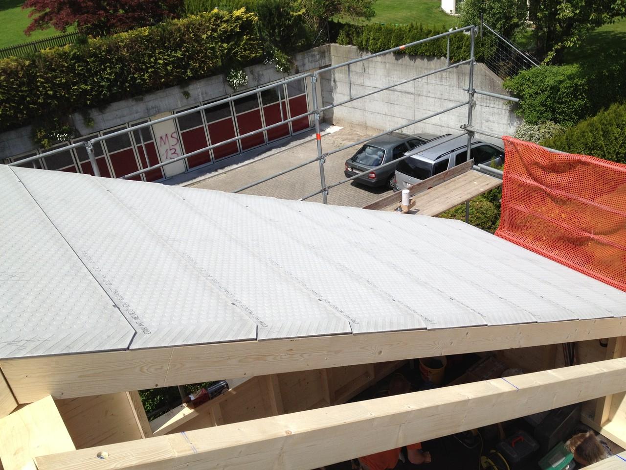 Anbau an bestehendes Haus, Unterdach