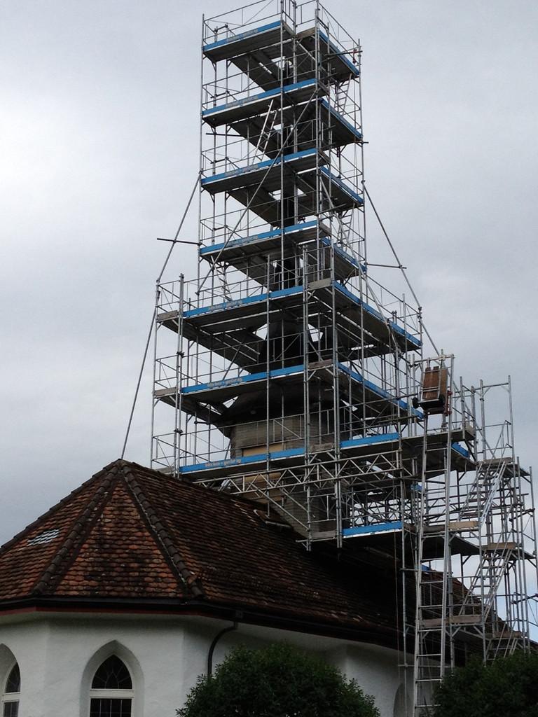 Sanierung Kirchturm, Gerüst