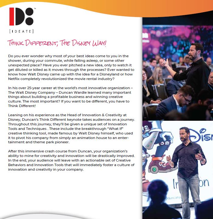 duncan wardle booking conference creativity innovation contact entertainment think