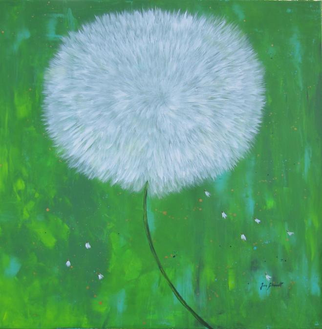 Pusteblume grün II 100 x 100 Acryl auf 3 D Keilrahmen