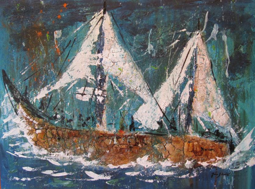 Geisterschiff 60 x 80 Acryl auf 3 D Keilrahmen