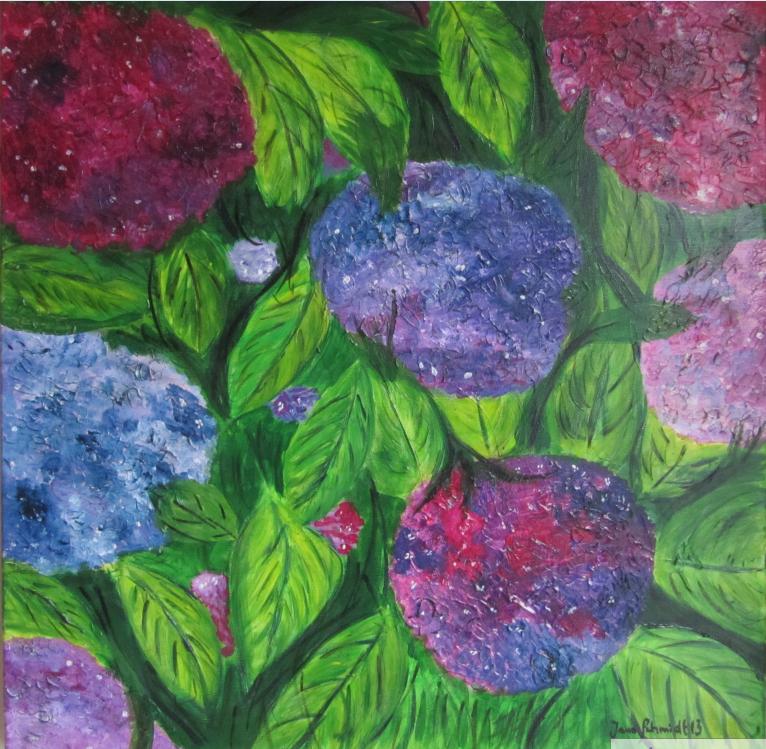Hortensien 60 x 60 Acryl auf Keilrahmen