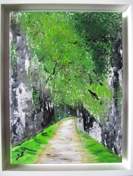 Birkenallee 24 x 30 Acryl im Schattenrahmen