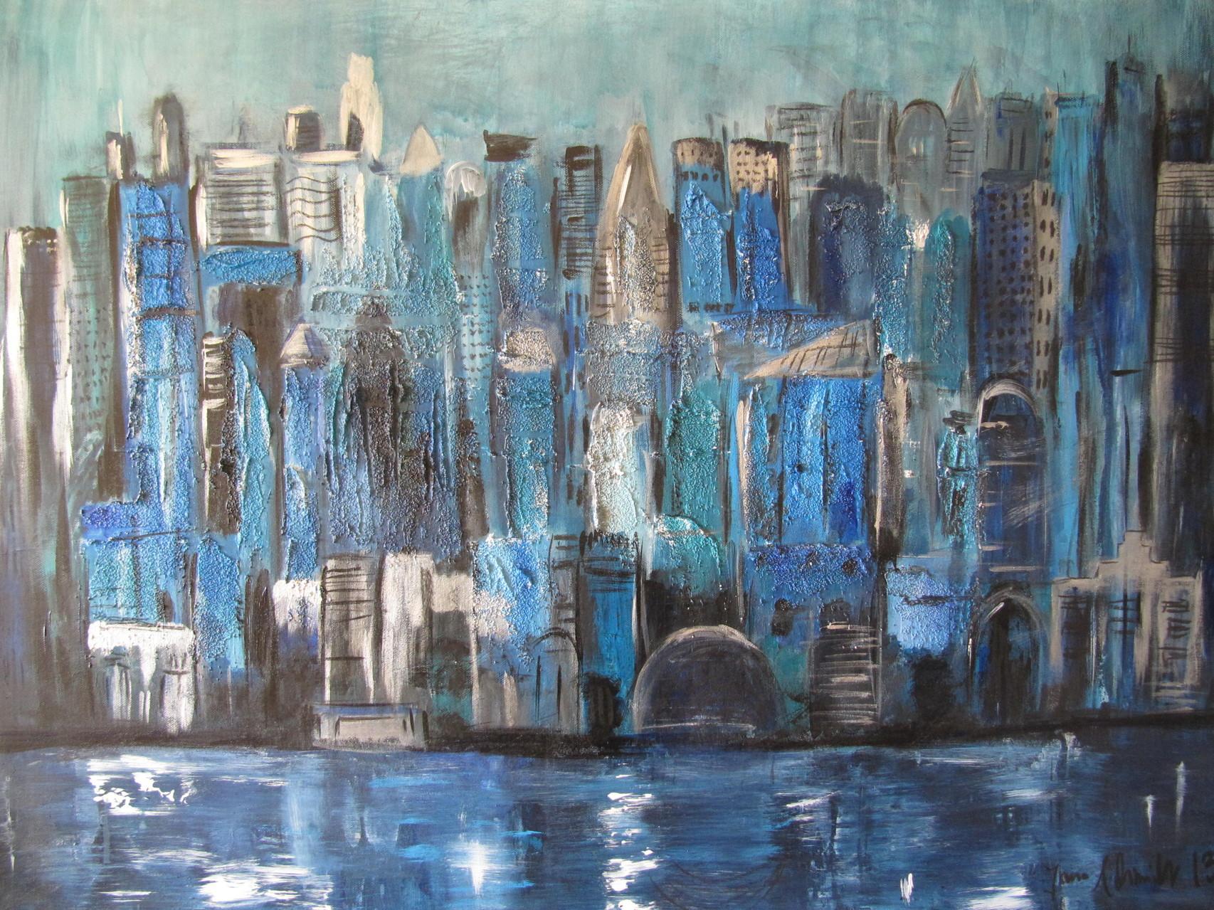 Manhattan Bei Nacht 70 x 100 Acryl auf Leinwand Mischtechnik