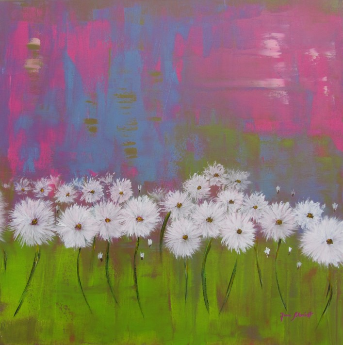 Pusteblumenwiese 80 x 80 Acryl auf Keilrahmen