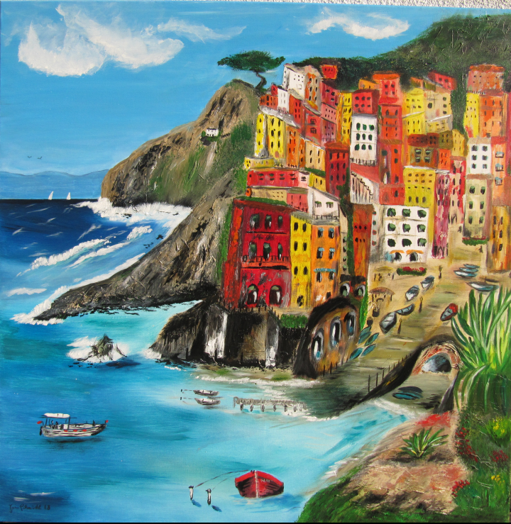 Riomaggiore 100 x 100 Acryl auf Leinwand