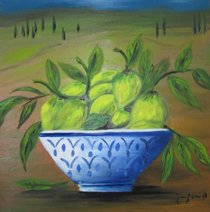 Zitronen 40 x 40 Öl auf Keilrahmen