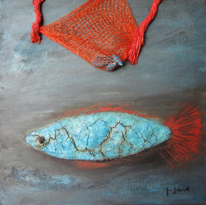 Blue Fish 40 x 40 Acryl auf 3D Keilrahmen Mischtechnik