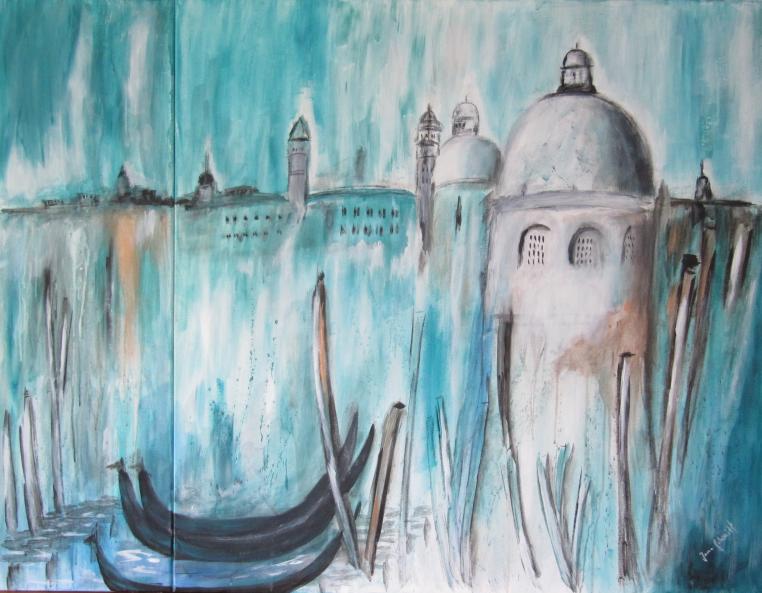 Venedig 100 x 130 2-teilig Acryl auf Keilrahmen