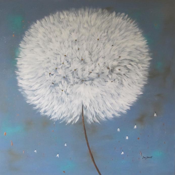 Pusteblume blau 100 x 100 Acryl auf 3D Keilrahmen