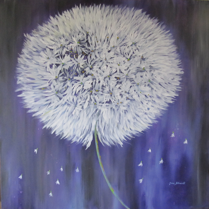 Pusteblume lila 100 x 100 Acryl auf 3D Keilrahmen