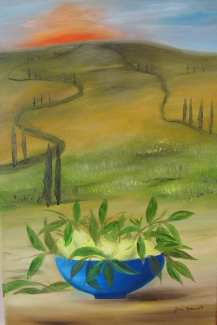 Toskana 40 x 60 Öl auf 3 D Keilrahmen