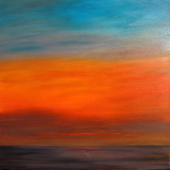 Sonnenuntergang 80 x 80 Öl auf 3D Keilrahmen