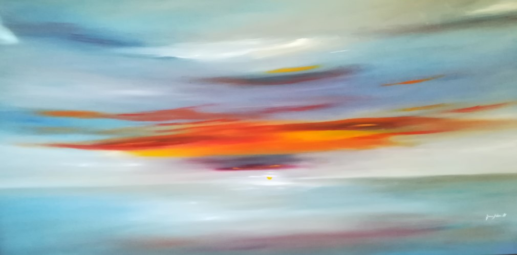 Sonnenuntergang 70 x 140 Öl auf 3 D Keilrahmen
